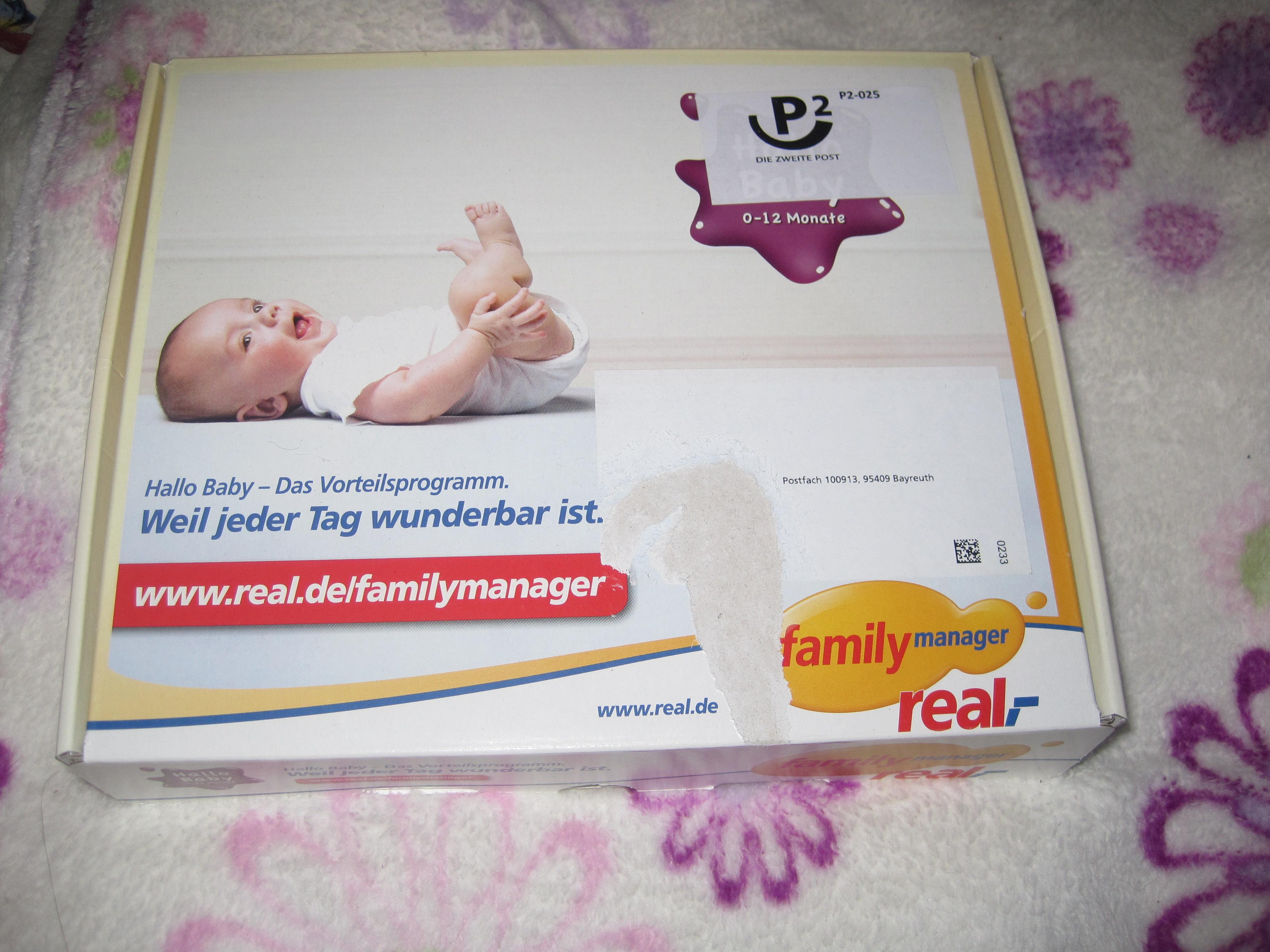 """Gratis Willkommenspäckchen zur Geburt """"Hallo Baby"""" von Real"""